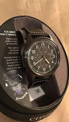 BARELY used Citizen Eco-Drive Mens adjustable black leather band Chrono Watch