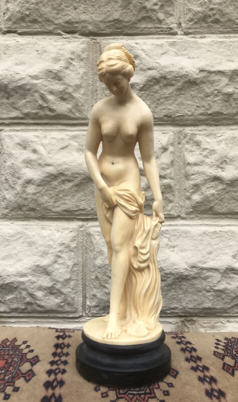 "A. Santini Nude Woman Bathing Sculpture Statue Figure 14.5"" Tall Vintage"