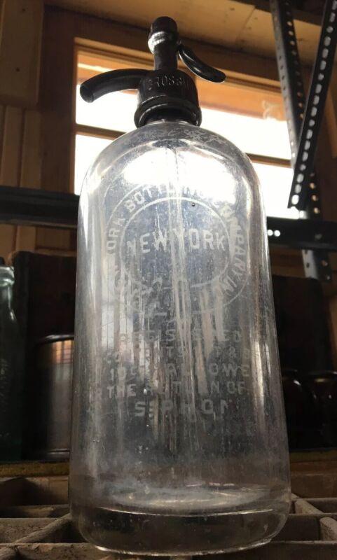 Vintage Glass Seltzer Bottle New York Bottling Company Grossman Bros Brooklyn