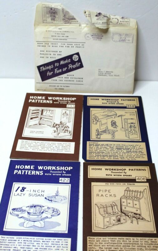 Lot 4 Vintage Home Workshop Patterns By Ruth Wyeth Spears Lazy Susan Sewing Pipe