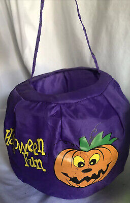 Vintage Halloween Trick Or Treat Pail - Collapsible /foldable Pumpkin