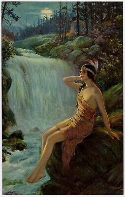 Vintage 1930s F.R. Harper Moonlit Waterfall Indian Maiden Art Deco Pin-Up Print -