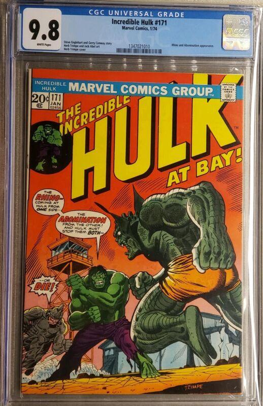 Incredible Hulk #171 cgc 9.8 White pages Rhino Abomination
