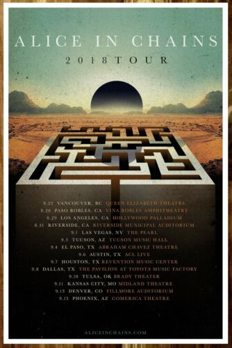 ALICE IN CHAINS Rainier Fog 2018 Ltd Ed RARE Tour Poster +FREE Rock Poster! AIC
