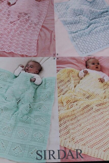 Sirdar Pattern 1368 to crochet four lovely baby blankets In four ply yarn.