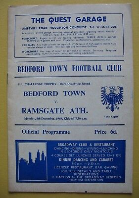 BEDFORD TOWN v RAMSGATE ATHLETIC FA TROPHY 3rd QUALIFYING ROUND 8th DECEMBER 69
