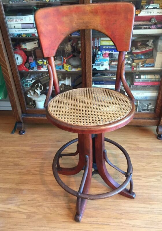 Vintage Antique Industrial Steampunk Swivel Bentwood Drafting Stool Western NY