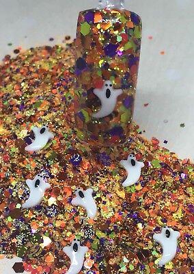 glitter mix nail art acrylic gel  SCREAM  halloween 🎃](Halloween Gel Nail Art)