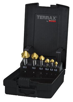 Terrax 6pcs. Taper Deburring Countersinker Set Hss-tin Type C 90