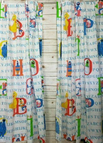 "Vtg Sesame Street 80s 90s Alphabet Curtains Drape Pair 24"" X 63"" Retro Decor"
