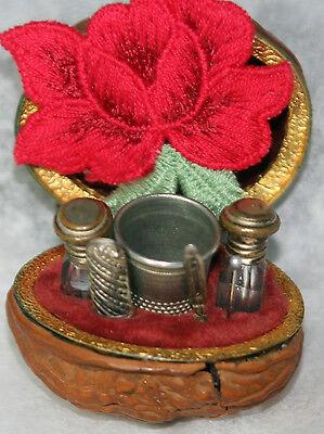 SPANISH WALNUT,7pc ETUI~ thimble,2 scent Glass bottles,awl,needle Antique c1800