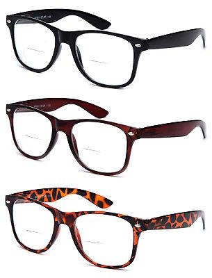 Bifocal Horned Rim Reading Glasses with Spring Hinge Temple Readers Bifocal - Horned Rimmed Glasses