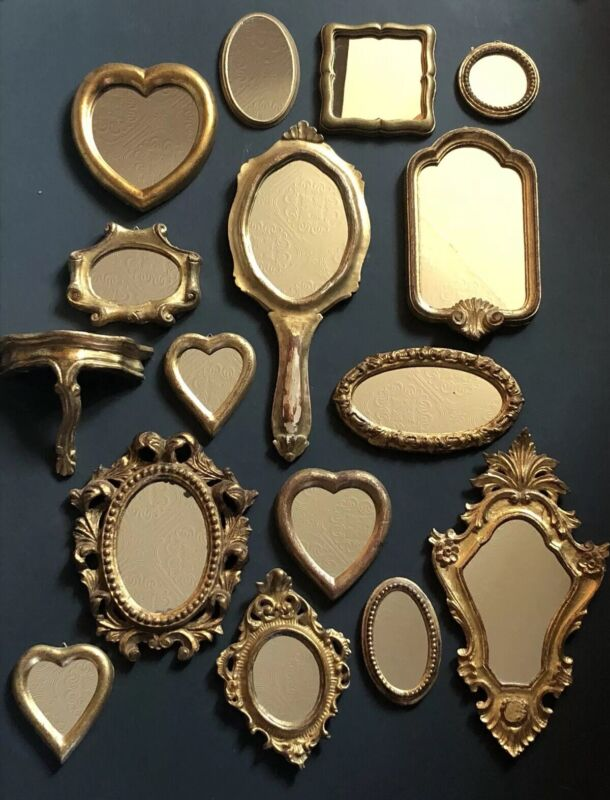2 Small Vintage MIRRORS GOLD ITALY Antique Frames Wall ITALIAN Floral FLORENTINE