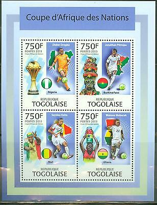 TOGO 2013 AFRICAN NATIONS CUP FOOTBALL SOCCER SHEET OF FOUR STAMPS