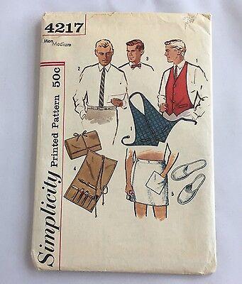 VTG Sewing Pattern Men Bow Tie Backless Vest Slippers Wrap Simplicity 4217 Uncut