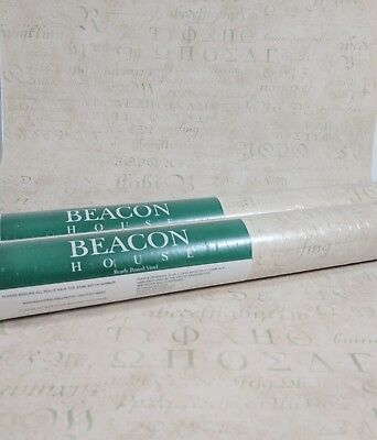 Old Wallpaper Pattern - Beacon House Pale Pink Cream Beige GREEN Old World Script Letters 2 + Roll Lot