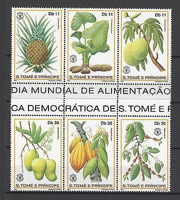 St. Thomas and Prince Islands 1981 Sc#641-2 World Food Day MNH Strips Cat $12