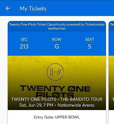 Twenty One Pilots Upper Level Tickets(2)- June 29 - Columbus, OH