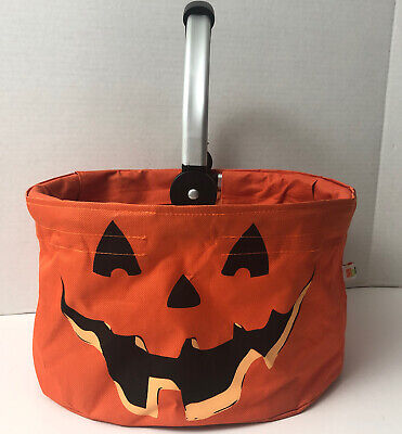 HALLOWEEN Pumpkin Candy Bucket Trick or Treat Canvas Bag Purse Tote Collapsing