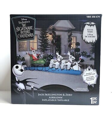 Nightmare Before Christmas Jack Skellington Sleigh 11.5' Inflatable Yard Decor