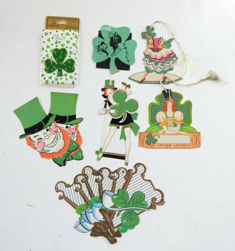 16 Mixed Vintage Bridge Tally Cards St. Patricks Shamrock Harp Die Cut Girls