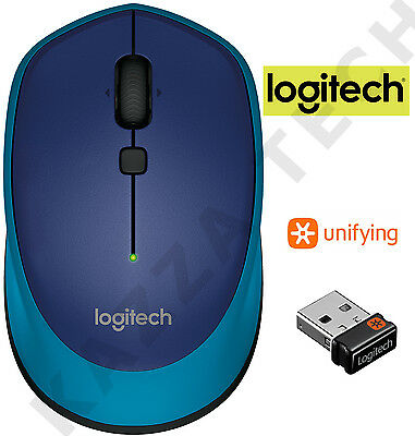 Logitech M335 BLUE Wireless Laser Optical Compact Mouse Unifying PC Laptop MAC