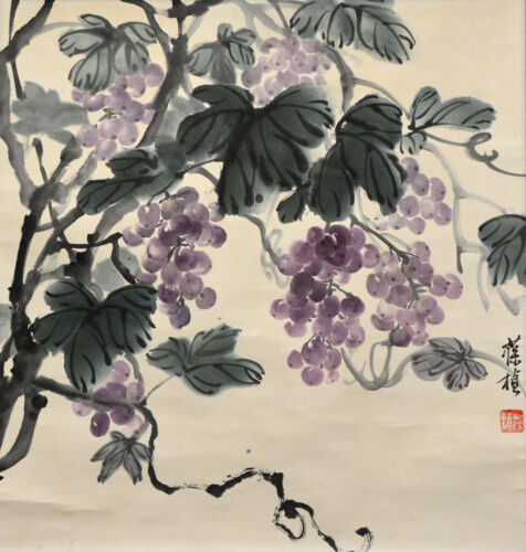 Vintage Chinese Hand Painted Watercolor GRAPES Wall Hanging Scroll Painting
