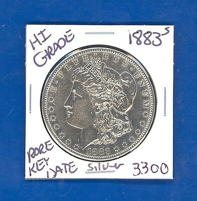 1883 S MORGAN SILVER DOLLAR COIN #3300 $HI-GRADE$GENUINE US MINT$RARE KEY DATE