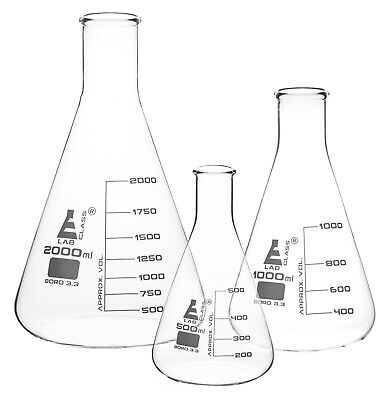 Set Of 3 Erlenmeyer Flasks - Narrow Neck - 500ml 1000ml 2000ml - Eisco Labs