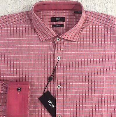 1e9a2ffd HUGO BOSS Men's L/S Shirt XXL 2XL Slim Fit NWT Melvin Red Checked $155