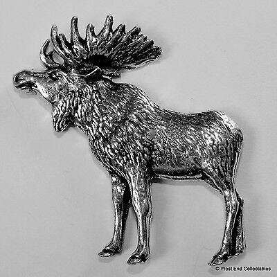 North American Moose Elk Standing Pewter Brooch Pin-British Artisan Signed Badge