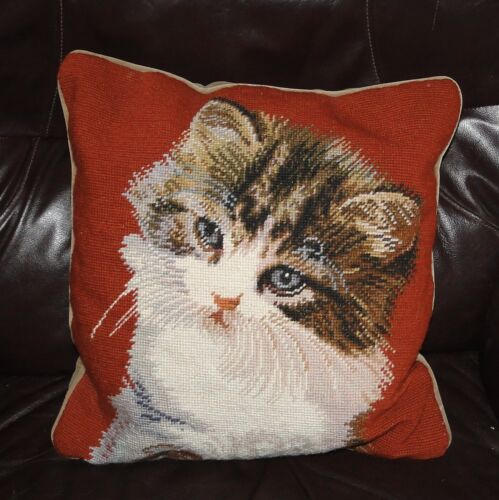 """Sweet LONGHAIR Kitty NEEDLEPOINT CAT PILLOW 17"""" Square Red Cream Brown Gray"""