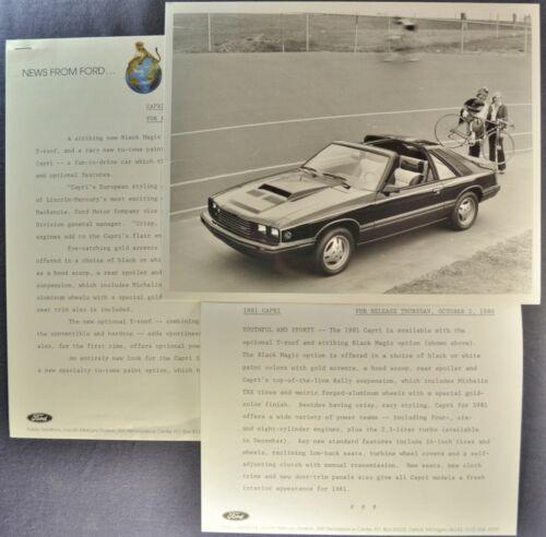 1981 Mercury Capri Black Magic Press Release Photo +Text Excellent Original 81