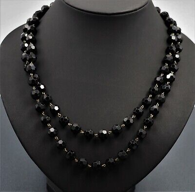60s -70s Jewelry – Necklaces, Earrings, Rings, Bracelets GLASS CRYSTAL Womens BLACK Faceted BEAD Necklace Vintage Jewellery 1950's 1960's $89.07 AT vintagedancer.com