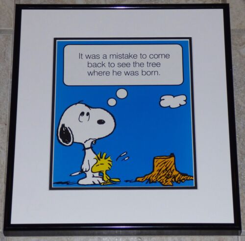 PEANUTS SNOOPY WOODSTOCK FRAMED POSTER PRINT CHARLES SCHULZ ENVIRONMENTALISM