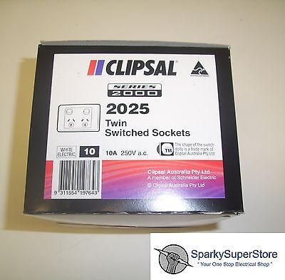 Clipsal Power Point Double 10a Gpo - 10 Bulk Pack Genuine Clipsal 2000