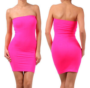 Sexy-SEAMLESS-Strapless-LONG-Tube-Top-Tunic-STRETCH-Mini-Dress-Casual-Slim-Fit