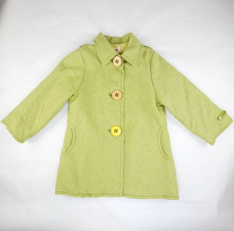 Catimini 4T Girls European Lined Wool Dress Coat Pear Green Heart Pockets 4T
