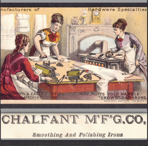 Chalfant Mfg Irons 435 Arch St Phila PA Hardware Mrs Potts Victorian Trade Card