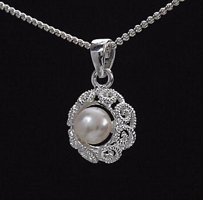 Perlen SET Silber 925 Filigran Anhänger mit Kette Sw. Zuchtperlen Weiß Halskette