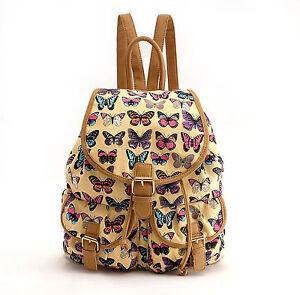 Ladies Girls Butterfly Canvas Backpack Rucksack School bag College Shoulder Bag