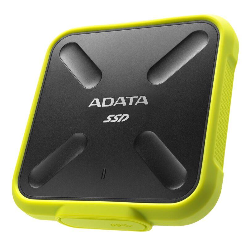 256GB AData SD700 Durable External SSD - USB3.1 Interface - Black/Yellow