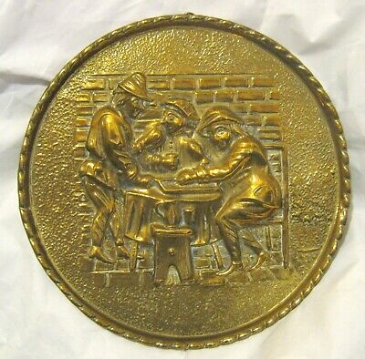 Great Brass circular plaque medieval scene made by Peerage approx 10½ ins wide