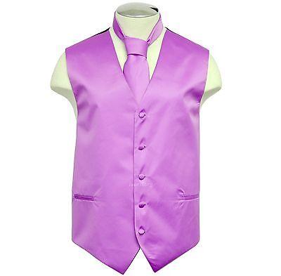 New Brand Q Formal Men's vest tuxedo waistcoat & necktie Lav