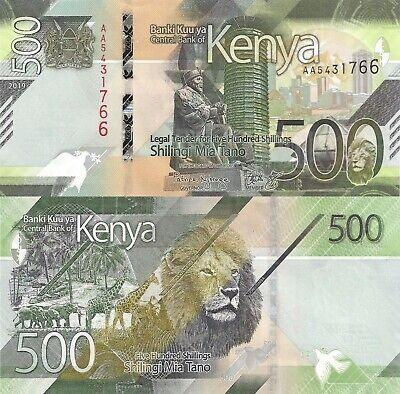 Kenya 500 Shillings (2019) - Giraffe/Lion/Elephants/AA Prefix/pNew UNC