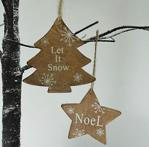 Wooden-Christmas-Tree-Decorations-Star-Let-it-Snow-Noel-Vintage-Traditional-Snow
