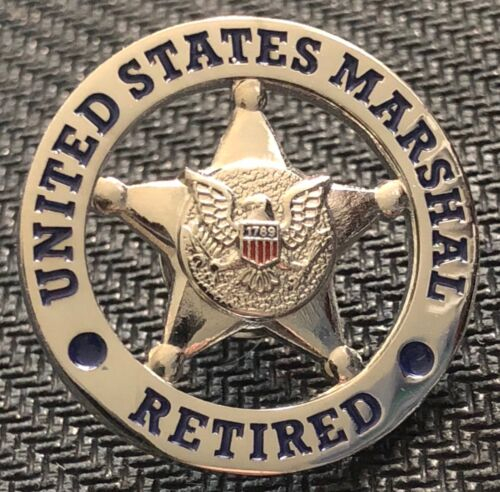 USMS - US Marshals Service RETIRED - shiny silver lapel Pin