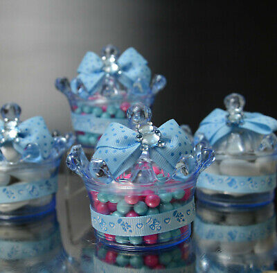 12 BLUE CROWN FILLABLE PARTY FAVORS  PRINCE BABY SHOWER TABLE DECORATION BEAR - Plastic Prince Crown