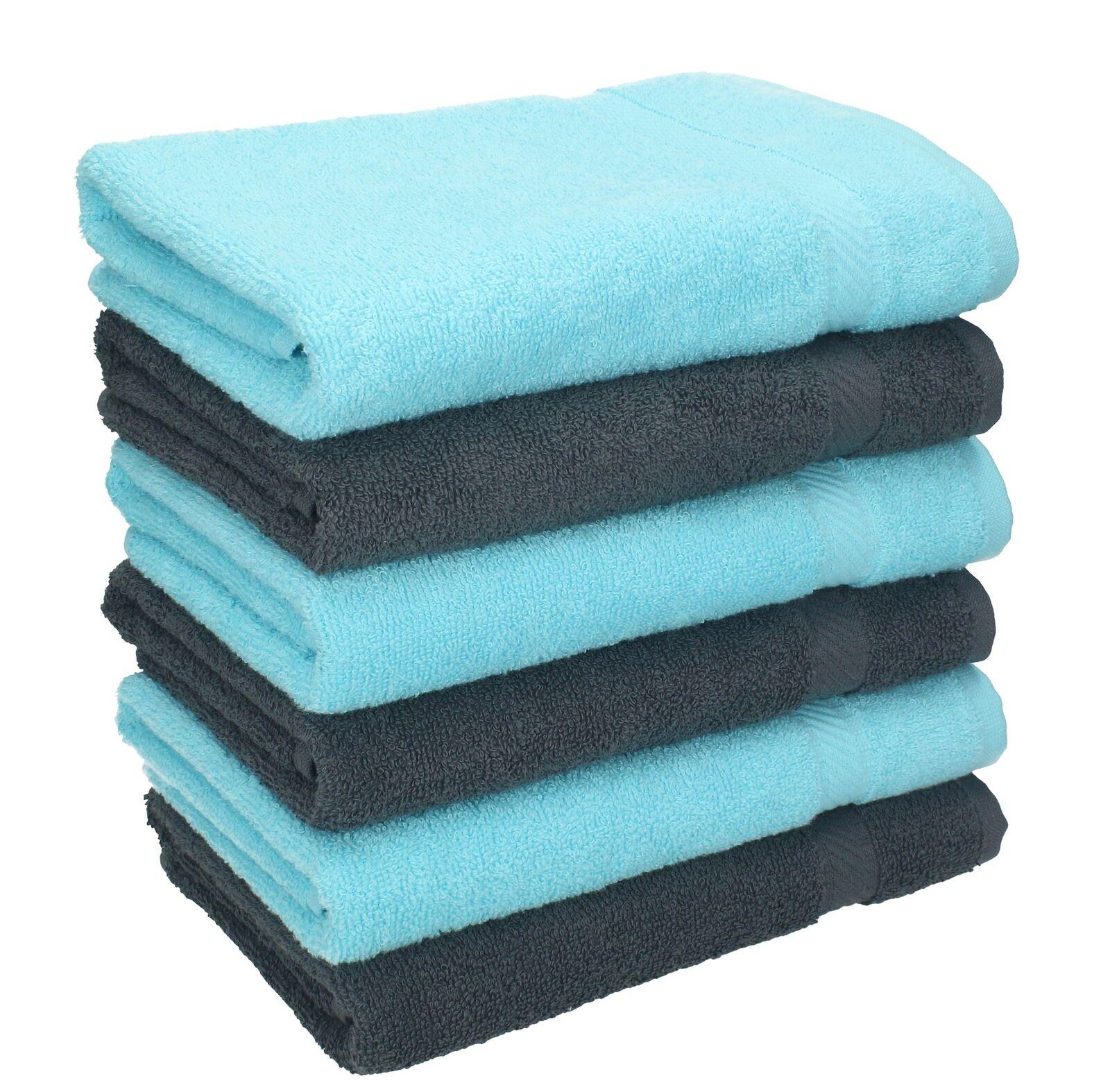 Betz 6 Stück Handtücher PALERMO 100% Baumwolle Handtuch-Set anthrazit und türkis