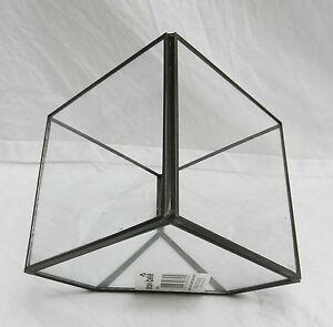 black metal et cube en verre forme terrarium ebay. Black Bedroom Furniture Sets. Home Design Ideas